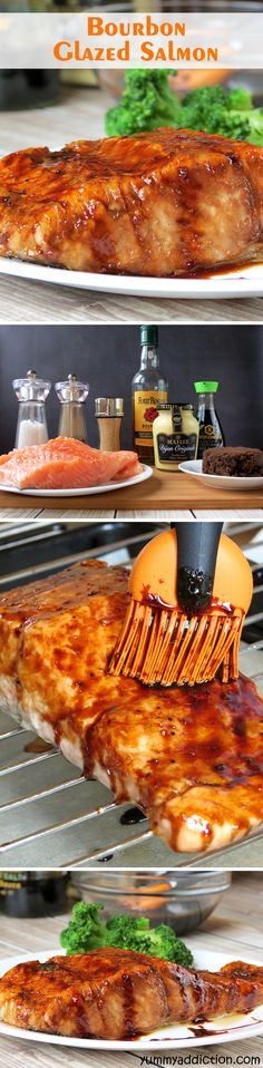 Bourbon Glazed Salmon | #holiday #entertainment #dinnerparty #festive | YummyAddiction.com