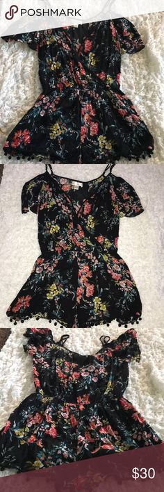 Band of gypsies romper Floral cold shoulder with Pom Pom shorts Band of Gypsies Shorts
