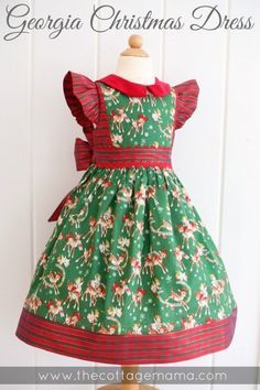 Georgia Vintage Christmas Dress. Pattern from The Cottage Mama. Sewing Pattern www.thecottagemama.com