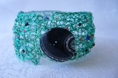 Crochet beaded bracelet/cuff by JuliesCrochetArray on Etsy, $20.00