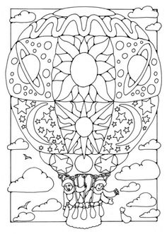 free hot air balloon with doodles coloring page for grown ups