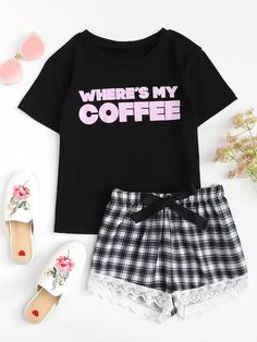 SheIn offers Letter Print Top & Lace Hem Plaid Shorts PJ Set & more to fit your fashionable needs. Cute Pajama Sets, Cute Pjs, Cute Pajamas, Cute Lazy Outfits, Cute Outfits For School, Cool Outfits, Cute Sleepwear, Pajama Outfits, Teen Fashion Outfits