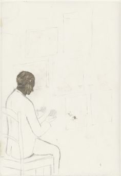 Francis Alÿs, Untitled: Man Looking at His Hands oil, pencil, and pressure-sensitive tape on two pieces of transparentized paper, 11 x 8 in Drawing Sketches, Art Drawings, Brain Illustration, Art Studies, Moma, Contemporary Paintings, Beautiful Landscapes, Painting & Drawing, Printmaking