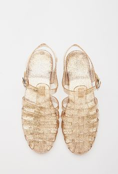 Caged Glitter Jelly Sandals