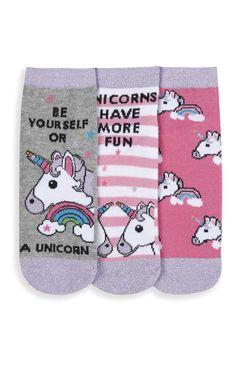 Primark - Lot de 3 paires de chaussettes à licorne
