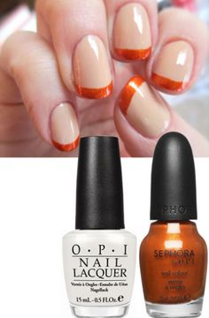 Harvest French Tips | 20 Beautiful Nail Tutorials You Need To Try This Fall
