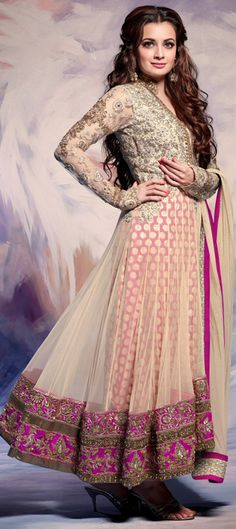 423668: White and Off White color family unstitched Anarkali Suits.
