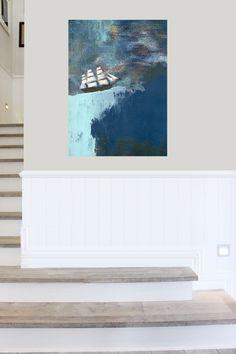 framed art Abstract Seascape – Navy Blue Art Print, Nautical Decor and Abstract Ocean Wall Art Frames On Wall, Framed Wall Art, Beach Theme Wall Decor, Blue Art, Texture Art, Art Studios, Painting Frames, Abstract Art, Ocean