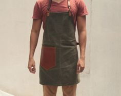 Waxed Canvas Apron Black On Sale by QamaySF on Etsy