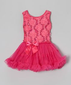 Another great find on #zulily! Hot Pink Rosette Dress - Infant, Toddler & Girls #zulilyfinds