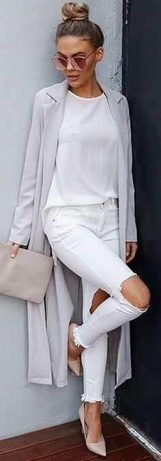 #fall #executive #peonies #outfits |  Grey Long Duster + All White