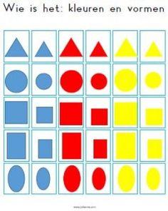 Een alternatieve kaart voor het spel 'Wie is het'. Onderwerp: kleuren en vormen.