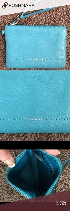COACH WRISTLET This is like new, all leather in excellent condition. 6 inches across 5 inches top to bottom. Color is turquoise. Coach Bags Clutches & Wristlets