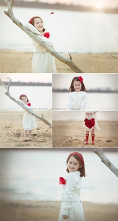 Valentine's Day Photography, Child photography, 6 year old girl, lake photography, styled child session, children photos