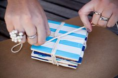 DIY Coasters from tiles--would be so cute for a beach house! (Maybe I could make these with chevron stripes instead?)