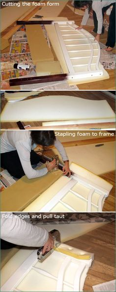 2 DIY Fabric Headboard, Handmade, Bed post, Reupolstery, Reupoltered