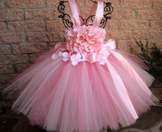 BABY PINK FLOWERS - Pink Tutu Dress - Flower Girl Gown - Pageant Girl Outfit - First Birthday Dress - Princess Tutu - Pale Pink Tutu Dress -