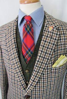 Vintage 1960s HARRIS TWEED Wool Blazer 42 R ~ Houndstooth jacket / sport coat ~