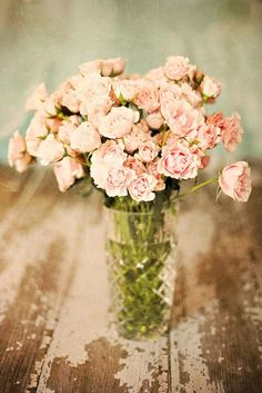 weathered wood and pink roses