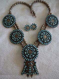 Signed Vintage Navajo Sterling Silver TURQUOISE KACHINA Petit Point Cluster SQUASH Blossom Necklace & Earrings Set