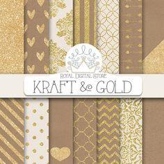 Kraft Digital Paper: KRAFT & GOLD with kraft | Etsy Shabby Chic Salon, Shabby Chic Apartment, Shabby Chic Mirror, Shabby Chic Living Room, Shabby Chic Homes, Shabby Chic Furniture, Shabby Chic Decor, Shabby Chic Background, Gold Background
