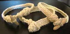 Handcrafted ropework bracelets with carved wooden toggles