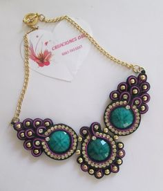 bisuteria soutache paso a paso - Buscar con Google Soutache Necklace, Ring Necklace, Pendant Necklace, Earrings, Diy Jewelry, Jewelry Necklaces, Jewelry Making, Collar Diy, Soutache Tutorial