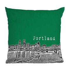 DENY Designs Bird Ave Portland Green Throw Pillow | Pure Home-Polly Products is proud to manufacture products made of 100% recycled plastic! For a more eco friendly world visit www.pollyproducts.com or check us out on YouTube to learn how our products are affecting communities all around you at www.youtube.com/pollyproducts