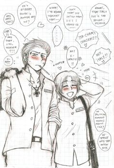 GerIta - gossip by on deviantART Latin Hetalia, Hetalia Fanart, Germany And Italy, Hetalia Axis Powers, Usuk, Neko, Gossip, Fan Art, Cartoon