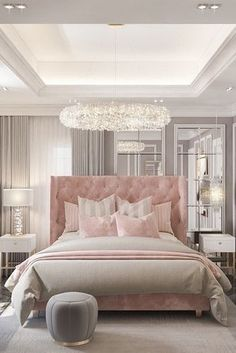 Beautiful Grey and baby pink luxury bedroom decor with baby pink tufted bed Home Room Design, Luxury Bedroom Decor, Bedroom Makeover, Luxurious Bedrooms, Bedroom Inspiration Grey, Fancy Bedroom, Room Decor Bedroom, Modern Luxury Bedroom, Beautiful Bedroom Decor