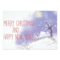 MERRY CHRISTMAS AND HAPPY NEW YEAR CARD - invitations personalize custom special event invitation idea style party card cards