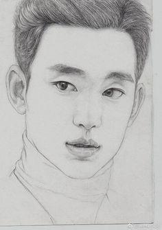 "Kim Soo Hyun 김수현 [ Upcoming drama "" It's okey to not be okay"" ] Sketches Of Love, Beautiful Sketches, Art Drawings Sketches Simple, Pencil Art Drawings, Anime Korea, Kpop Drawings, Jungkook Fanart, Celebrity Drawings, Guy Drawing"
