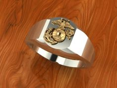 Two Tone Silver and Gold Marine Corps Ring