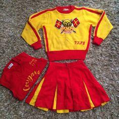 Vintage 1978 Cheerleader Set Sweater Skirt Vest Cindy Cougars Halloween Red Gold   eBay
