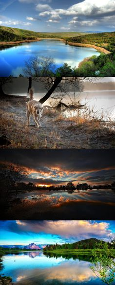 Night, lake, nature, landscape