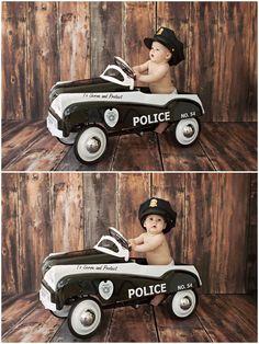 Missy B Photography: 6 Month girl session posing | police car | Walnut Creek, CA Child Photographer