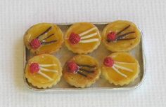Dolls house miniatures - Lemon and raspberry tartlets! (not real food)