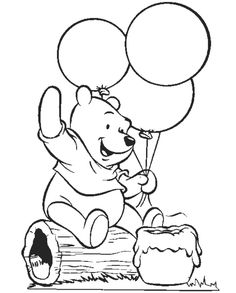 Winnie The Pooh Is Holding A Balloons Coloring Pages