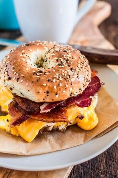 The breakfast sandwich that conquered the Big Apple. No true New Yorker starts their day without a delicious and gooey B.C (which is short for Bacon Egg and Cheese)! I was never an egg sandwich sandwich New York-Style Bacon Egg and Cheese Sandwich Breakfast And Brunch, Egg And Cheese Sandwich, Cheese Sandwich Recipes, Breakfast Sandwich Recipes, Bagel Sandwich, Brunch Recipes, Apple Breakfast, Bacon Breakfast, Bacon Egg And Cheese Bagel Recipe