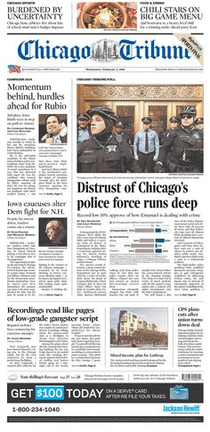 #20160203 #USA #ILLINOIS #Chicago #ChicagoTribune Wednesday FEB 3 2016 http://www.newseum.org/todaysfrontpages/?tfp_show=80&tfp_page=3&tfp_id=IL_CT