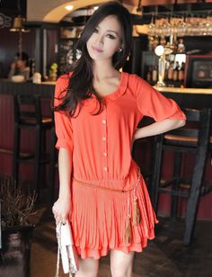 Women Casual Style Pure Color Single-Breasted Pleated Half Sleeve Dress - Item 693930 at Eastclothes.com