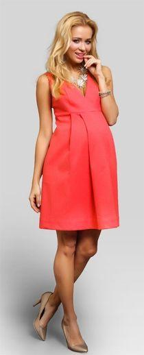 Passion coral хлопковое нарядное платье для беременных