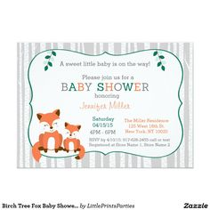 Birch Tree Fox Baby Shower Invitations