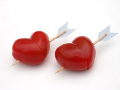 Love this idea for non-candy treats: Cherry tomato hearts