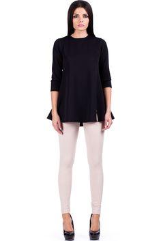 Pikowana tunika lekko rozkloszowana w kształcie litery A White Jeans, Turtle Neck, Sweaters, Pants, Fashion, Trouser Pants, Moda, Fashion Styles, Sweater