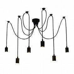 Lightess Vintage Multiple Ajustable DIY Ceiling Spider Pendant Lighting Chandelier 6 Heads E26 >>> ON SALE Check it Out