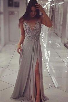 Gray V-neck side slit beaded chiffon prom dress,cheap evening dress,long prom dress