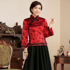 Prodigious Brocade Qipao Cheongsam Blouse - Red - Chinese Shirts & Blouses - Women