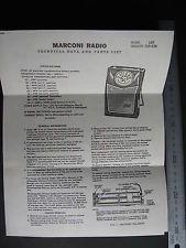 Marconi Radio  Technical Data & Parts List  Canadian Marconi 1957 1