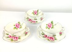 Shelley Fine Bone China Cream Soup Bowl & Saucer Lot Rambler RoseScalloped Plate diameter Handle Bowl approx diameterVery good condition no chips, no cracks, no crazing.This item will be carefully packed ( double boxed). Rambler Rose, Cream Soup, Porcelain Dinnerware, Cream Roses, White China, Bowl, Bone China, Tea Cups, Tableware